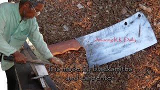 A beautiful cleaver knife made by blacksmiths and carpenter