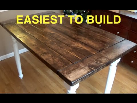 diy farmhouse table top HOW TO BUILD A FARMHOUSE KITCHEN TABLE   COMPLETE AND EASY PLAN  diy farmhouse table top