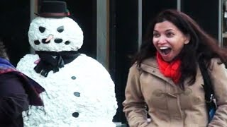 Over 100 Funny Reactions! Hilarious Scary Snowman 2014 Hidden Camera Practical Joke Compilation -