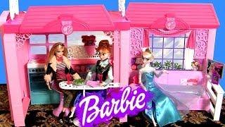 Barbie Glam Vacation House With Princess Anna & Elsa Sleepover Disney Frozen Casa De Vacaciones