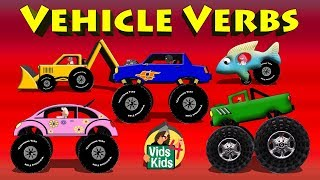 Vehicle Verbs - Learn Verbs With Vehicles Cartoon For Children