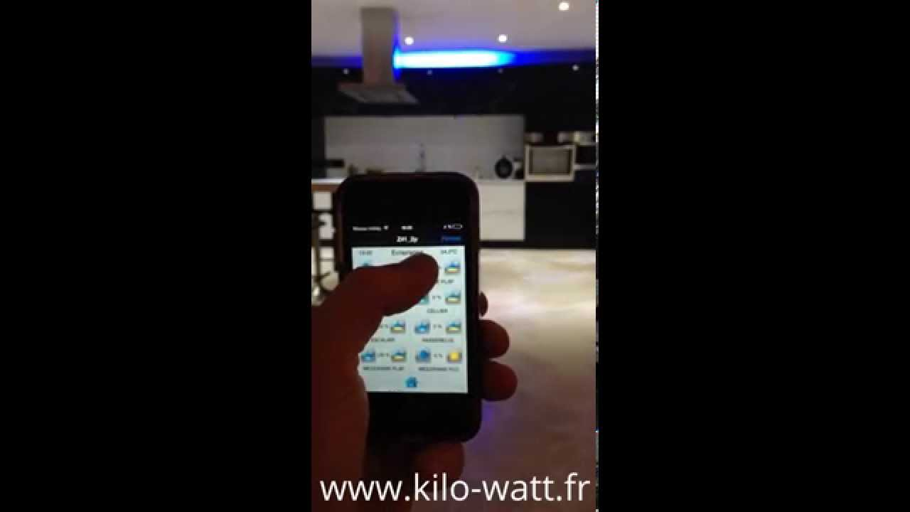 kilowatt smart home domotique knx zennio z41 support tv motorise youtube. Black Bedroom Furniture Sets. Home Design Ideas