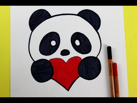 How to Draw a Panda with a Love Heart  YouTube