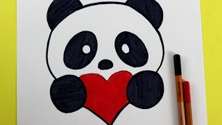 Como Dibujar un panda Kawaii - FACIL | How to Draw a Panda with a Love Heart