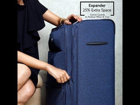 Nasher Miles London Expander || Polyester 55cm Soft-sided Blue Melange Cabin Trolley Bag