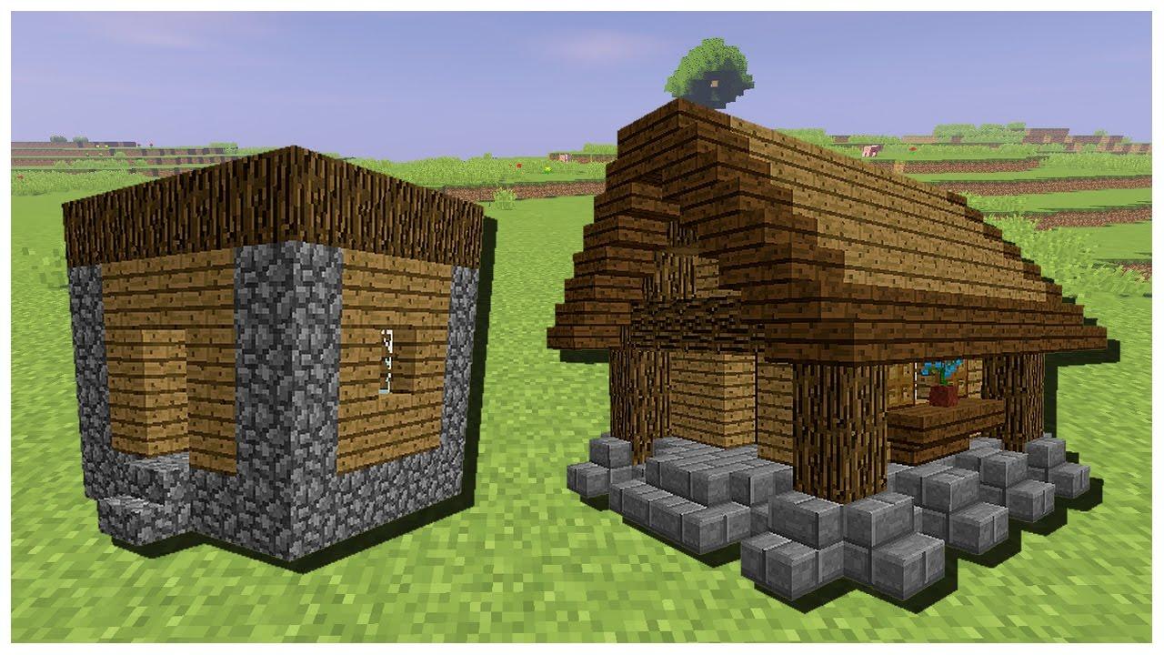Am liorer la petite maison et la cabane d 39 un village pnj minecraft youtube for Construction de petite maison