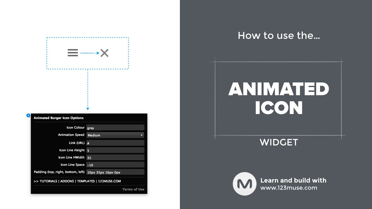 The Animated Burger Widget for Adobe Muse from http://www 123muse com