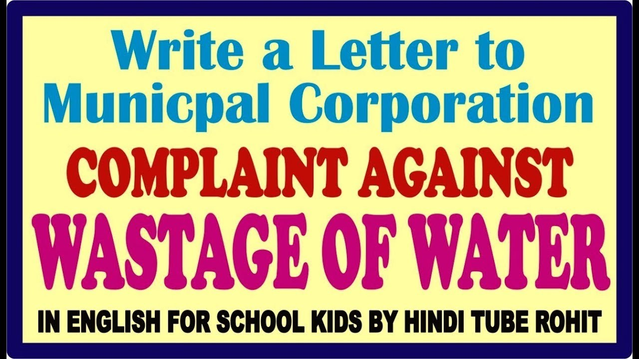 Complaint Letter For Water Leakage In Office