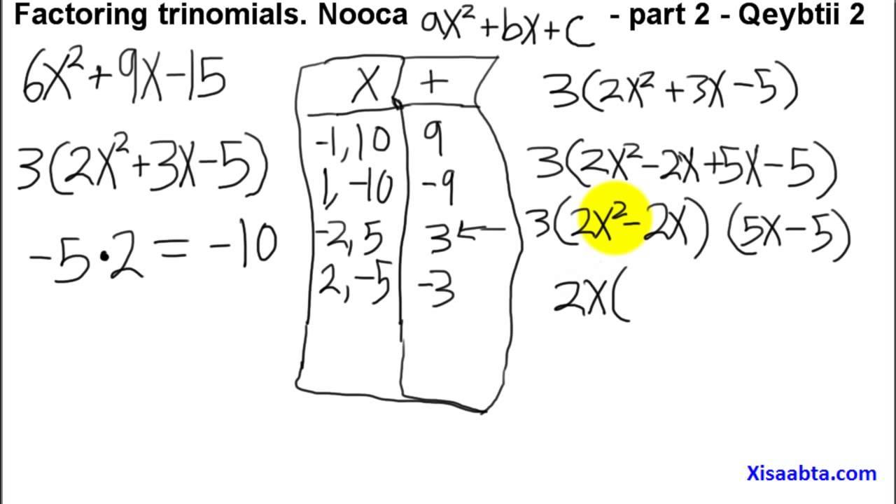 factoring trinomials using the ac method in somali