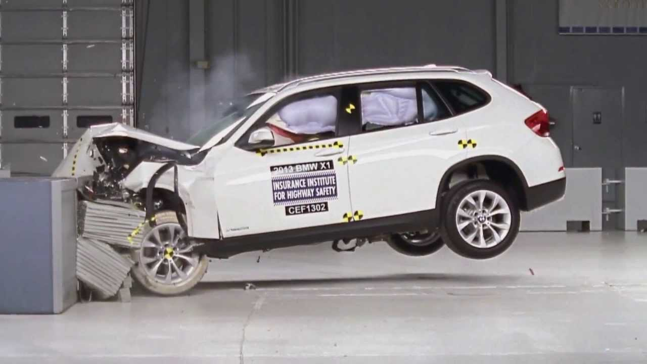 2013 bmw x1 crash test iihs moderate overlap test youtube. Black Bedroom Furniture Sets. Home Design Ideas