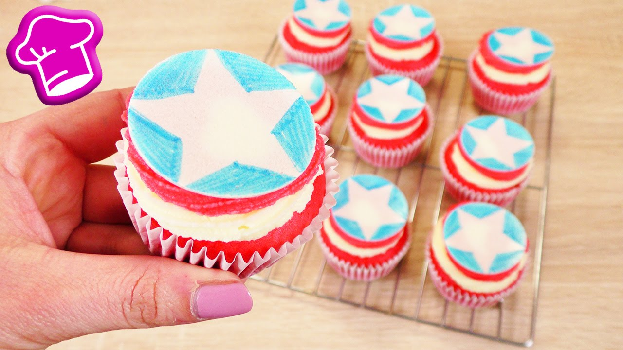 captain america cupcakes backen einfache rezeptidee. Black Bedroom Furniture Sets. Home Design Ideas