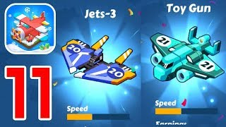 Merge Plane Click & Idle Tycoon Gameplay Unlocking Plane No.20 Jets-3 Plane And No.21 Toy Gun Plane