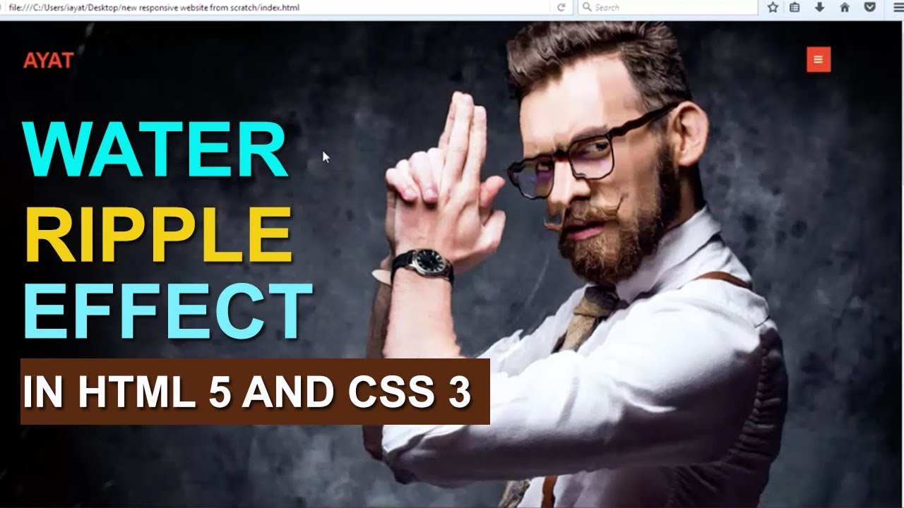 Water ripple effect in Html 5 and css 3 || video will out soon