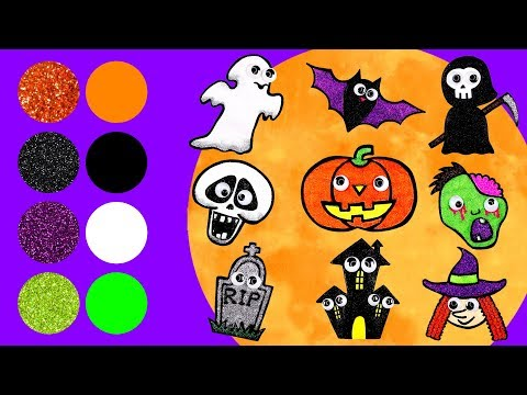 Learn Colors and Names of 8 Halloween Ghosts! | Glitter Coloring and Drawing for Kids & Toddlers