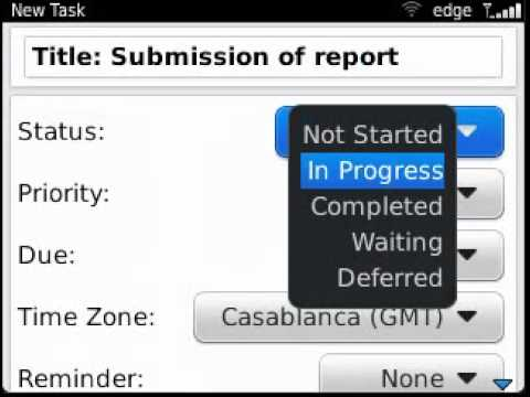 Setting tasks on BlackBerry Curve 9320/Curve 9220