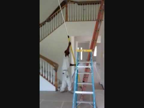 How to paint 18 39 cathedral ceilings youtube for How to paint a vaulted ceiling room