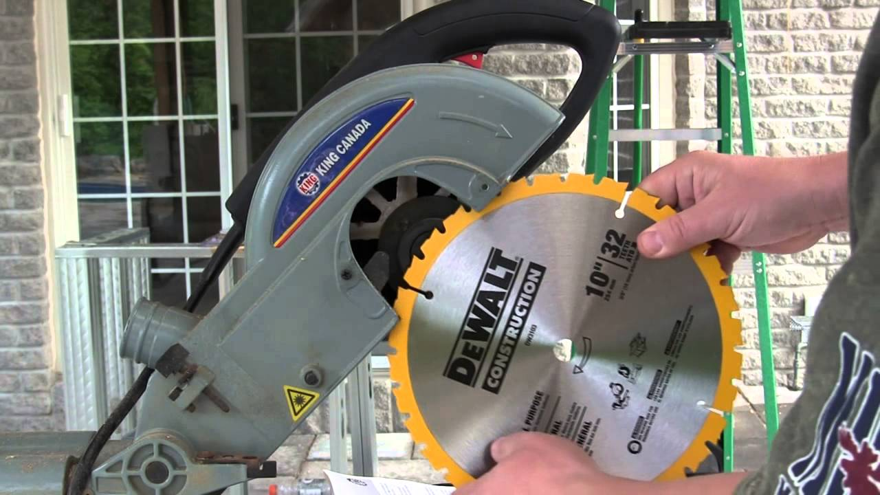 Miter saw blade change howto 10 inch king canada 9362 youtube greentooth Gallery