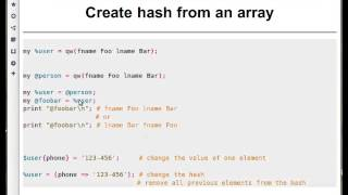 Beginner Perl Maven tutorial: 7.3 - creating a hash from array