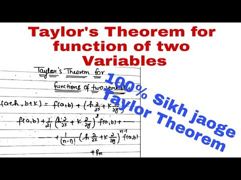 Taylor's Theorem For Function Of Two Variables@MATHSLOGY