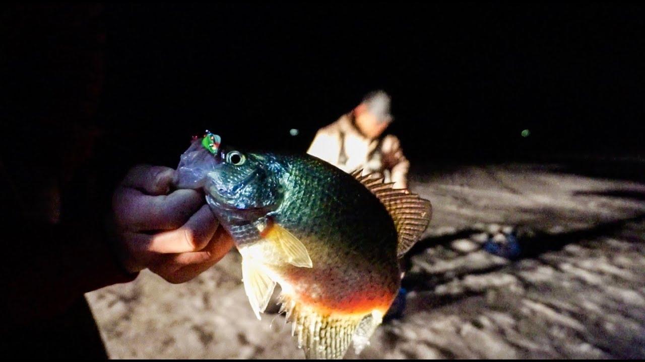 South dakota ice fishing late night crappies crazy bite for Ice fishing at night