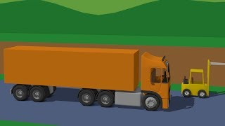 Supplier Truck | Orange Truck logistics and Yellow Fork Lift Truck | Street Vehicles Video For Kids