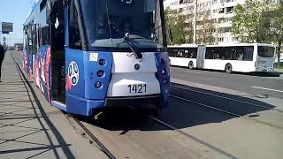 Посадка на 43 трамвай Сино-белый ЛМ-2008