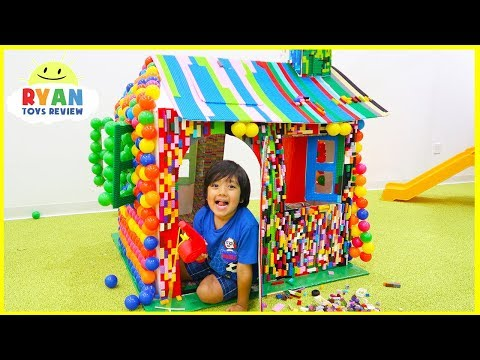 Pretend Play Lego and Color Balls PlayHouse Box Fort with Ryan ToysReview!!!