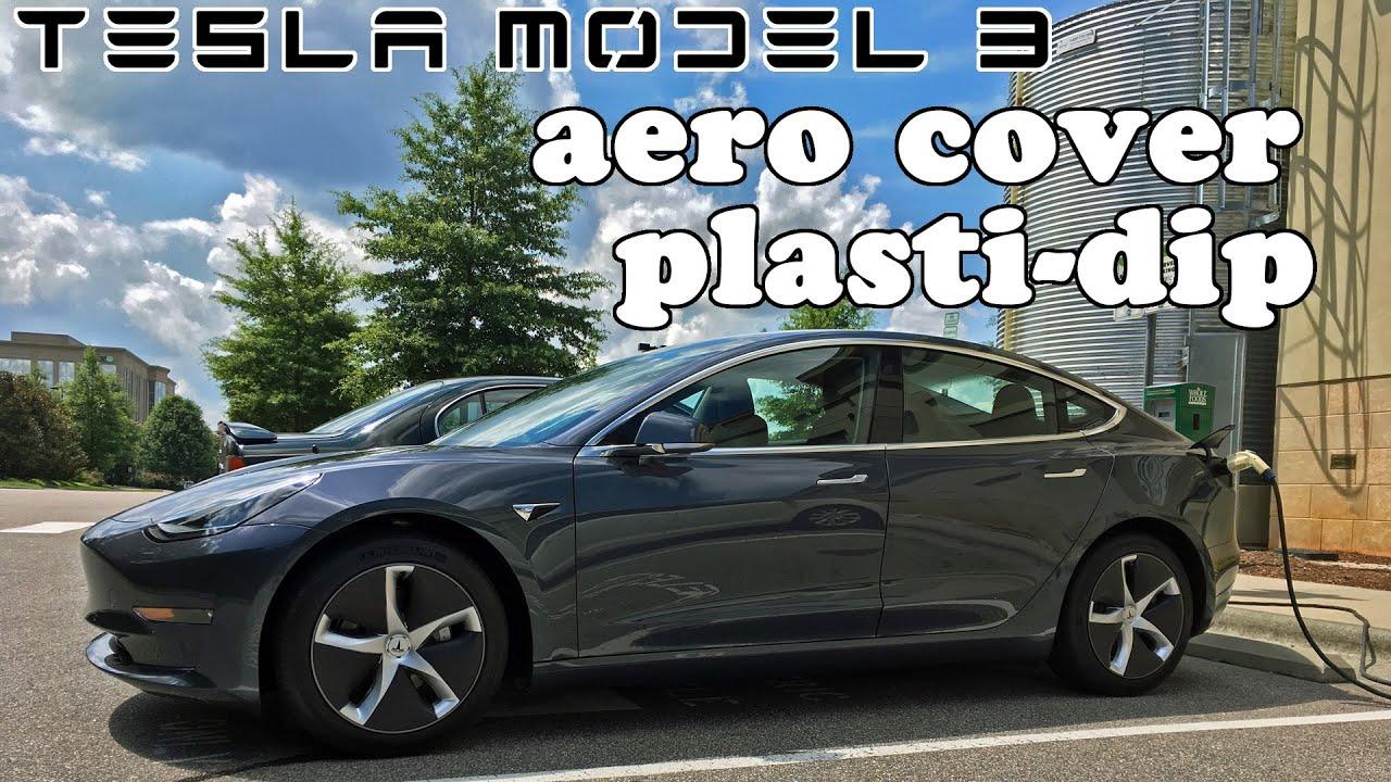 Tesla Model 3 - Aero Wheel Cover Wrap vs Plasti-dip