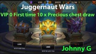 Juggernaut Wars - VIP 0 First time 10 x precious chests draw