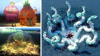 Underwater House Minecraft Builds | BASIC vs INTERMEDIATE vs EXPERT
