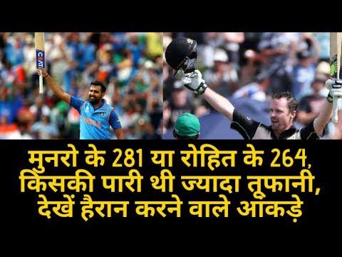 Rohit Sharma 264 vs Colin Munro 281| किसकी पारी थी ज्यादा तूफानी, देखें हैरान करने वाले आंकड़े