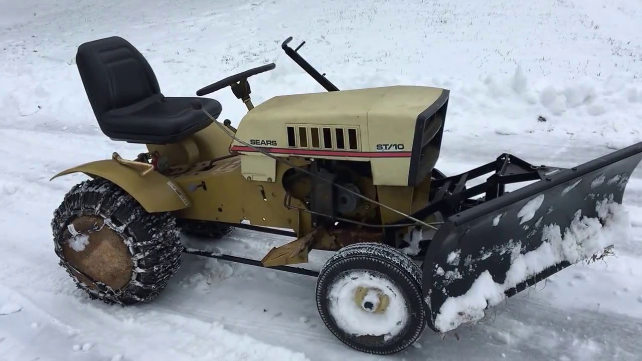 Sears St 10 10 Hp Lawn Tractor Plowing Snow