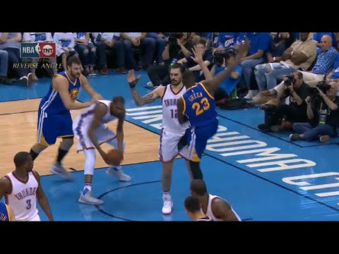 Draymond Green intentionally kicks Steven Adams between the legs - gets NOT ejected!