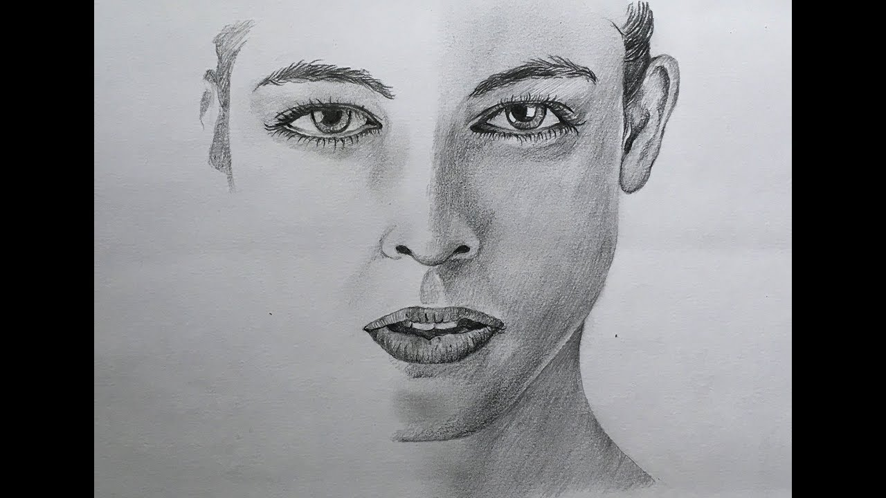 Easy face drawing in pencil pencil sketch of a human face pencil drawing
