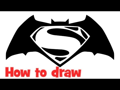 How to draw Batman v Superman Dawn of Justice logo step by step