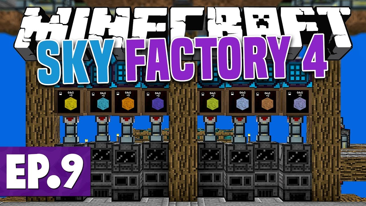 Minecraft Sky Factory 4 - NEW ISLAND & ORE PROCESSING! #9 [Modded Questing  Skyblock]