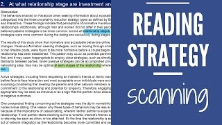 Reading Strategy: Scanning
