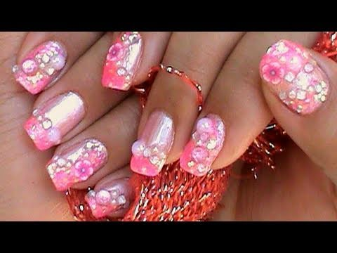 Fimo Flower Pink Glitter Kawaii Nail Art Design Tutorial Youtube