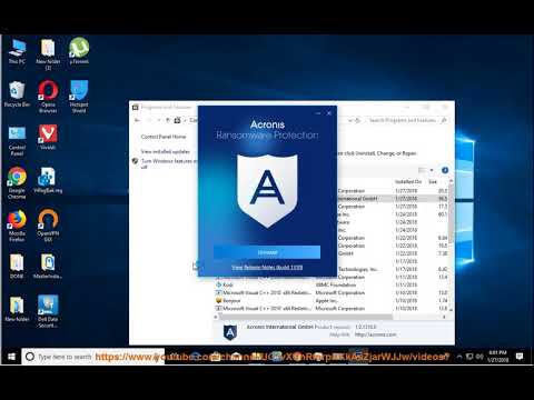Uninstall Acronis Ransomware Protection on Windows 10 Fall Creators Update
