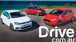 2015 Volkswagen Polo GTI v Ford Fiesta ST v Peugeot 208 GTi | Drive.com.au