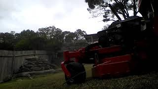 Mowing a hillside