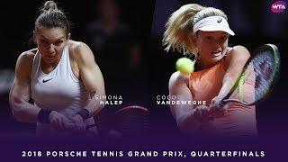 Simona Halep vs. CoCo Vandeweghe | Porsche Tennis Grand Prix Quarterfinals | WTA Highlights