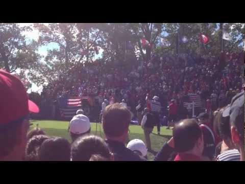 Jim Furyk and Sergio Garcia Intros Hole 1 Ryder Cup 2012 - Garcia Tee Shot