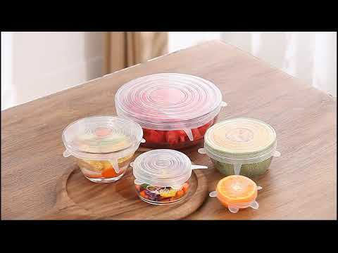 Stretch & Fit - Silicone Stretch Lids (6-Pack) Food Saver Cover Bowl