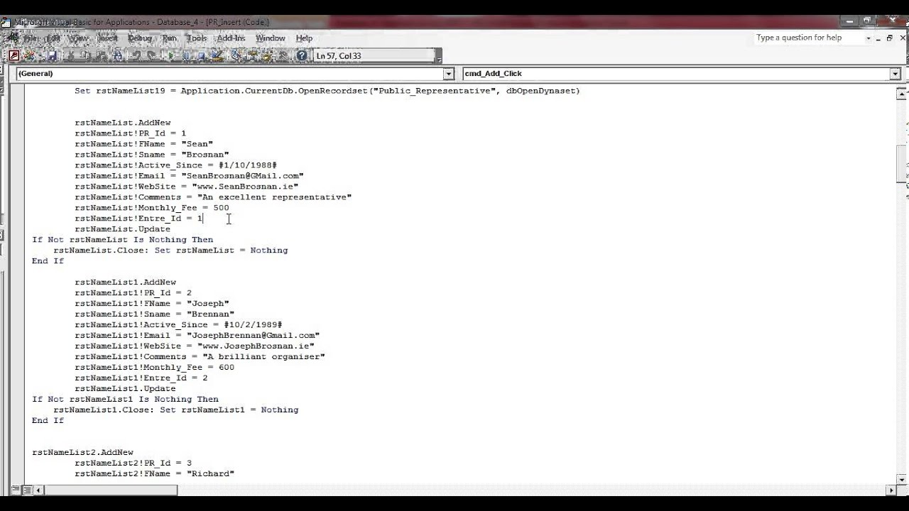 Microsoft Access Creating A Table Using VB