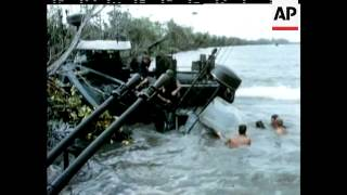 US PATROL BOAT IN RIVER CLASH - SOUND