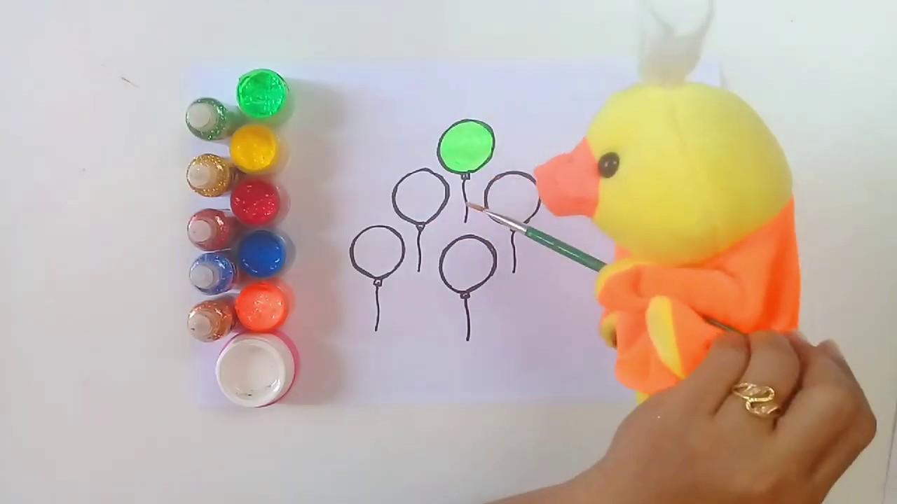 Gambar balon warna dengan Boneka Bebek dihias glitter ...