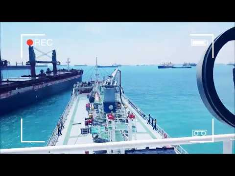 Bunker Tanker alongside to Cargo Ship in Singapore Port Limi
