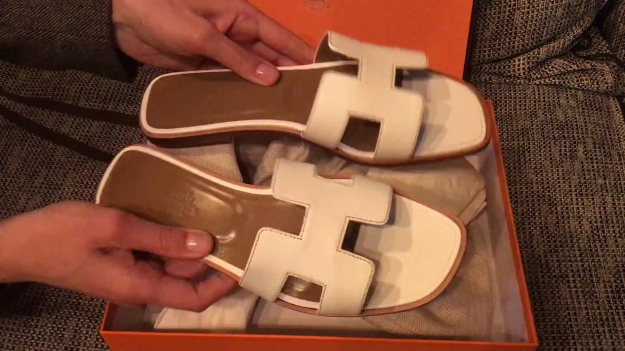 8463923e8680 Hermes Oran sandals unboxing - YouTube