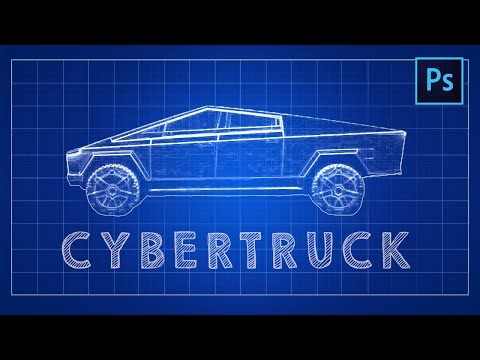 [ Photoshop Tutorial ] BLUEPRINT EFFECT - CYBERTRUCK thumbnail